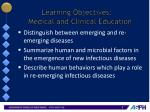 learning objectives medical and clinical education