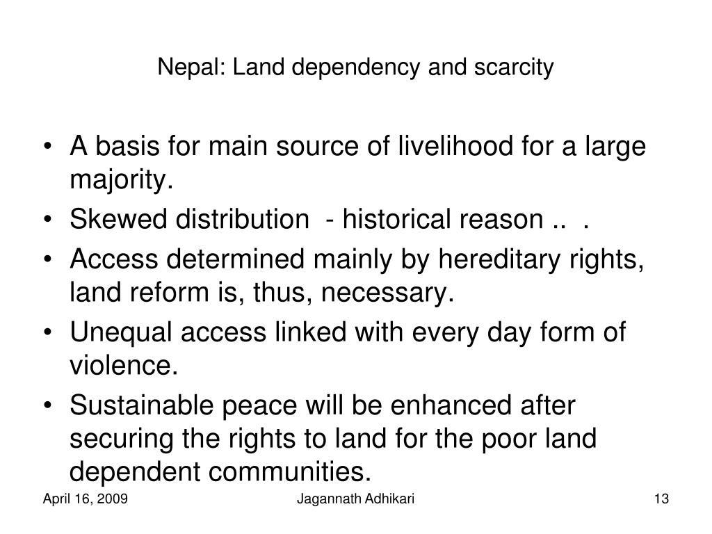 Nepal: Land dependency and scarcity