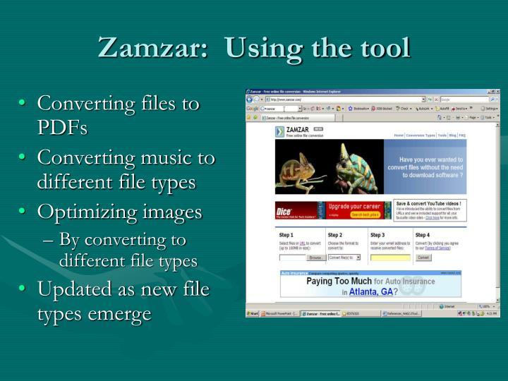 Ppt web 20 tool zamzar powerpoint presentation id1075874 zamzar using the tool ccuart Images