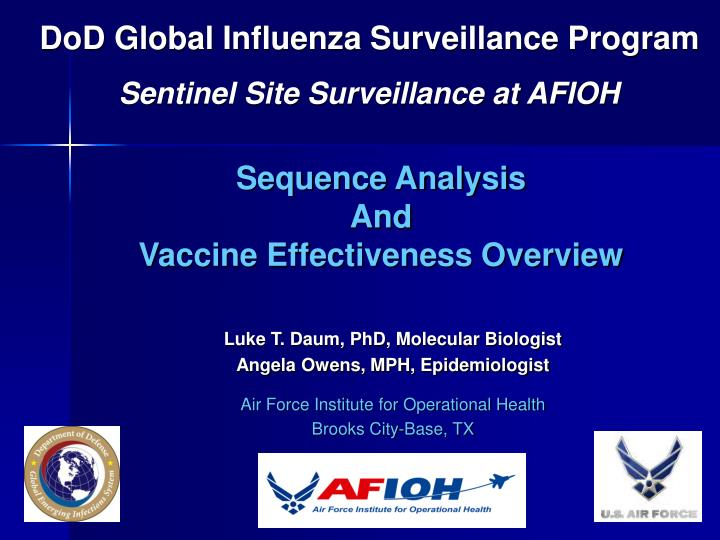 Dod global influenza surveillance program sentinel site surveillance at afioh