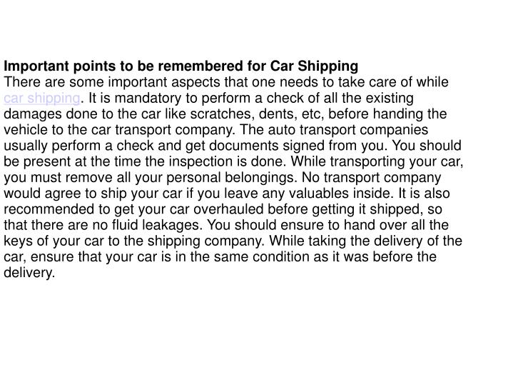 Important points to be remembered for Car Shipping