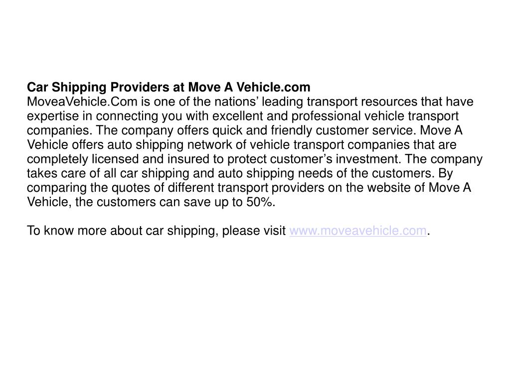 Car Shipping Providers at Move A Vehicle.com