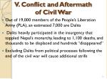 v conflict and aftermath of civil war