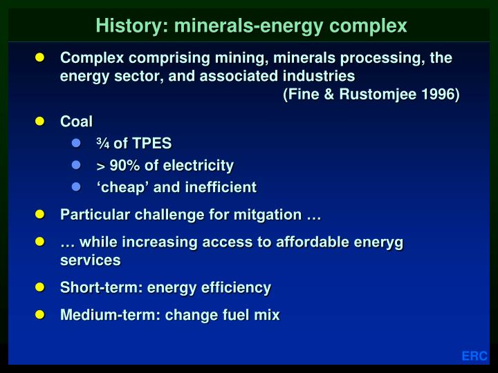 History: minerals-energy complex