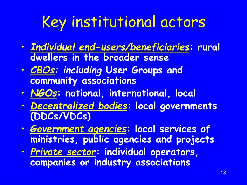 Key institutional actors