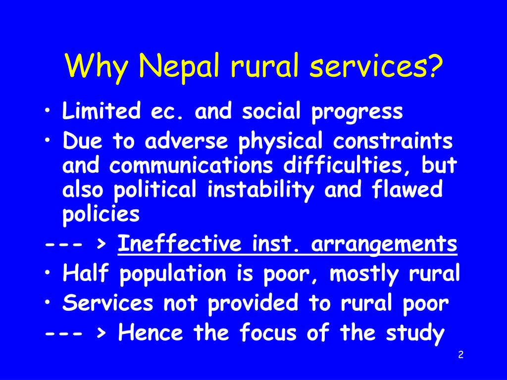 Why Nepal rural services?