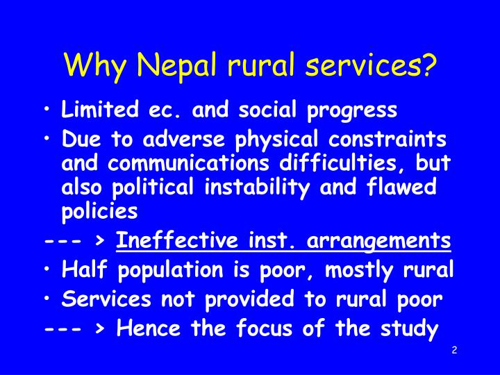Why nepal rural services
