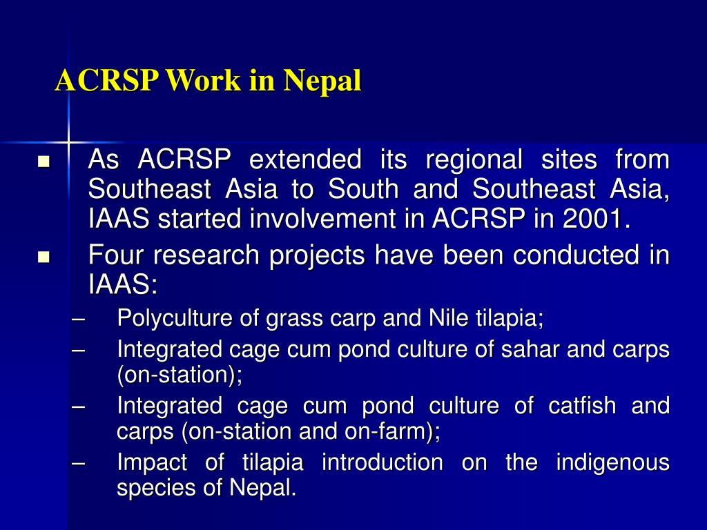 ACRSP Work in Nepal
