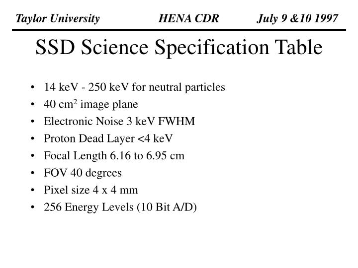 ssd science specification table n.