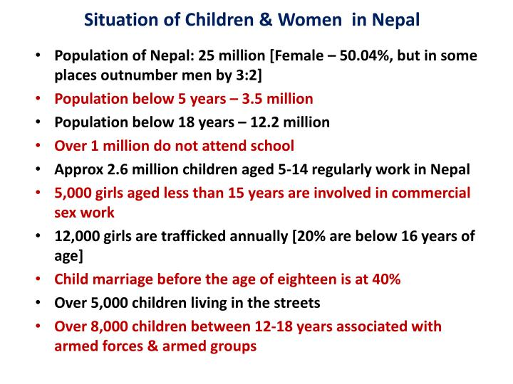 Situation of children women in nepal
