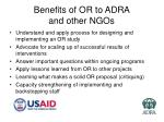 benefits of or to adra and other ngos