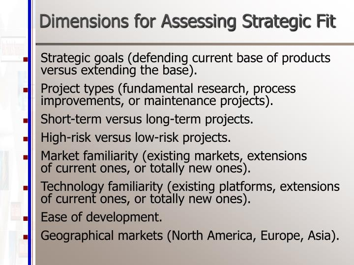 Dimensions for Assessing Strategic Fit
