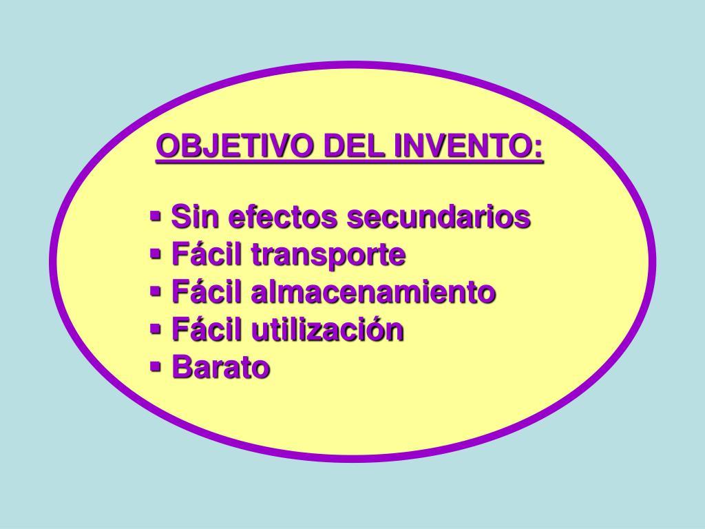 OBJETIVO DEL INVENTO: