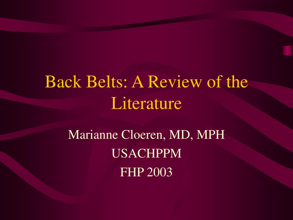back belts a review of the literature l.