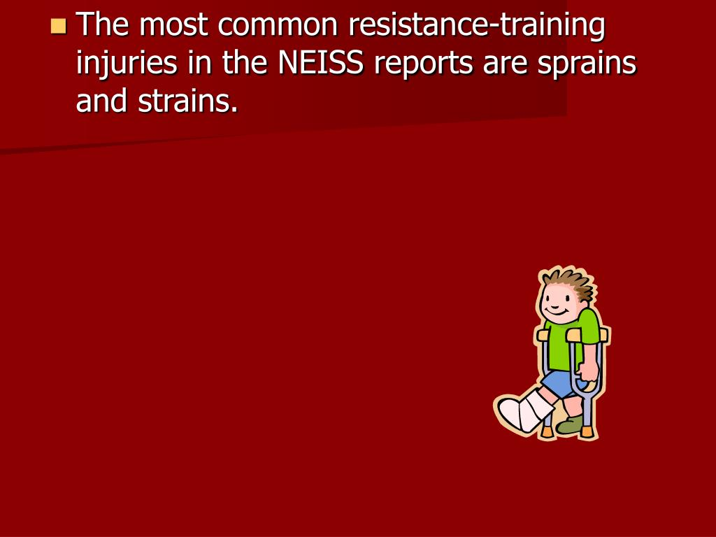 The most common resistance-training injuries in the NEISS reports are sprains and strains.
