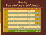 running planned completed calendar