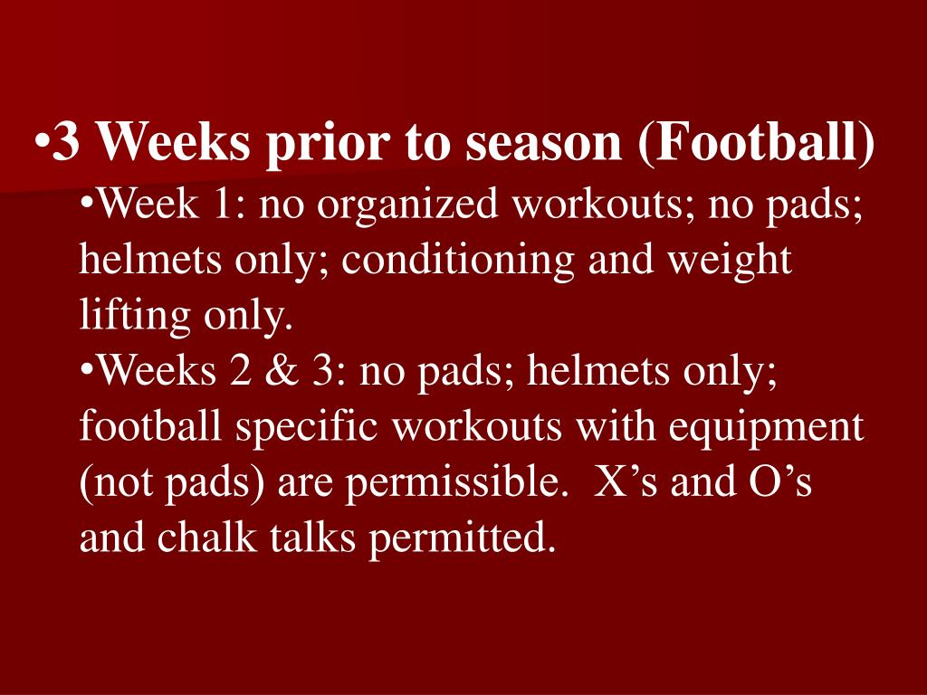 3 Weeks prior to season (Football)