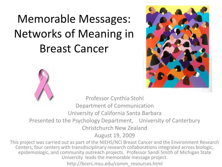 memorable messages networks of meaning in breast cancer n.