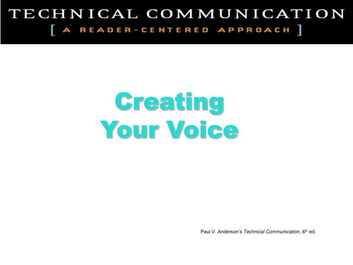 creating your voice