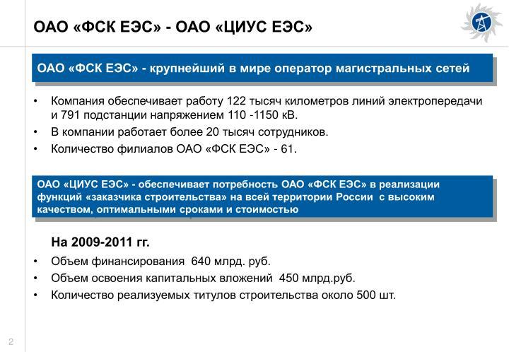 ОАО «ФСК ЕЭС» - ОАО «ЦИУС ЕЭС»