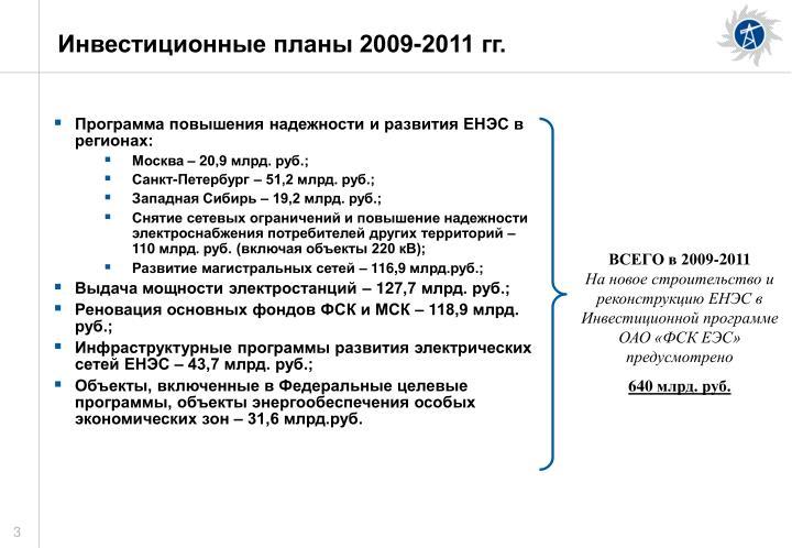 Инвестиционные планы 2009-2011 гг.