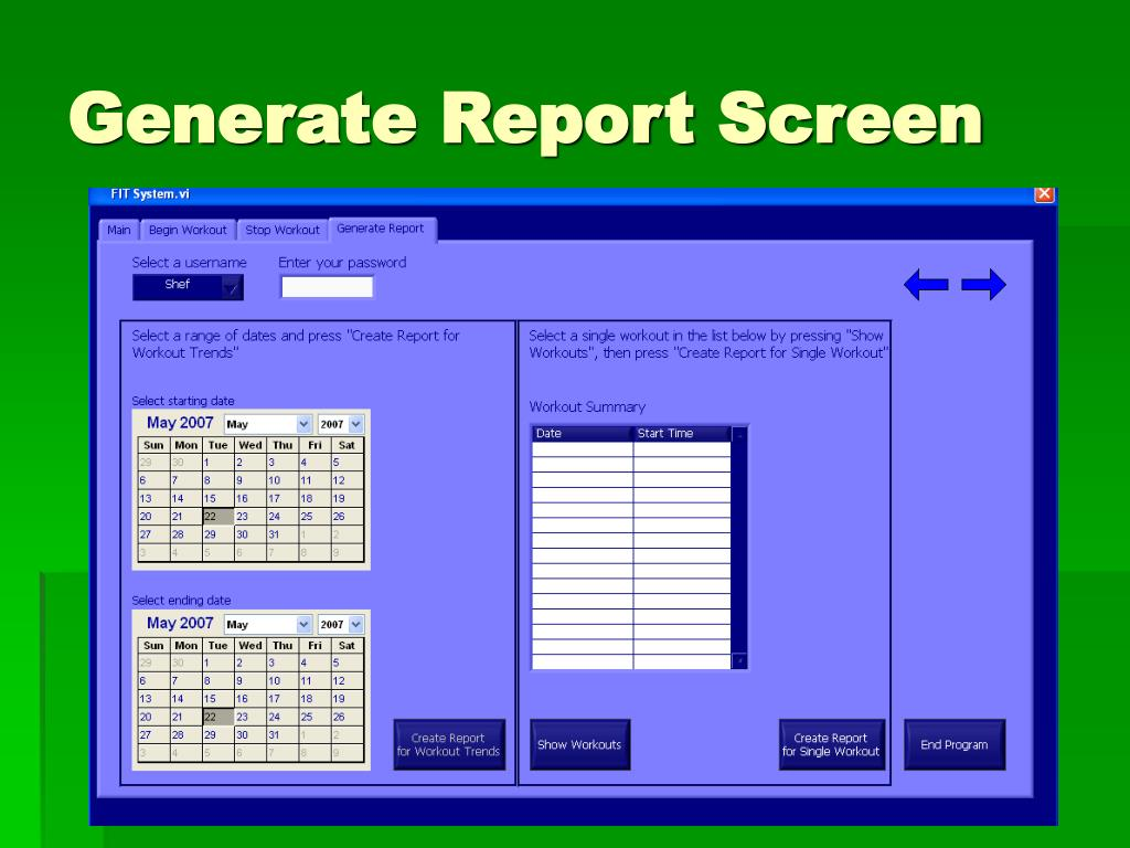 Generate Report Screen