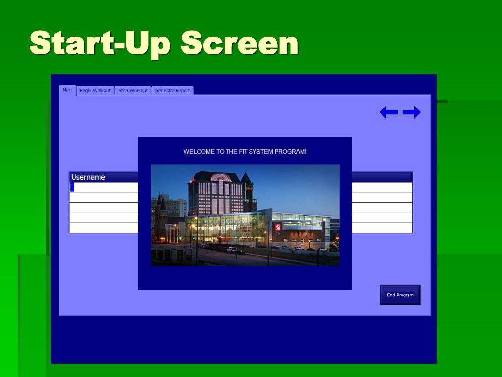 Start-Up Screen