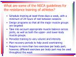 what are some of the nsca guidelines for the resistance training of athletes