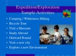 expedition exploration sample activities