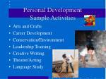 personal development sample activities