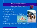 physical fitness sample activities