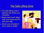 the safe lifting zone