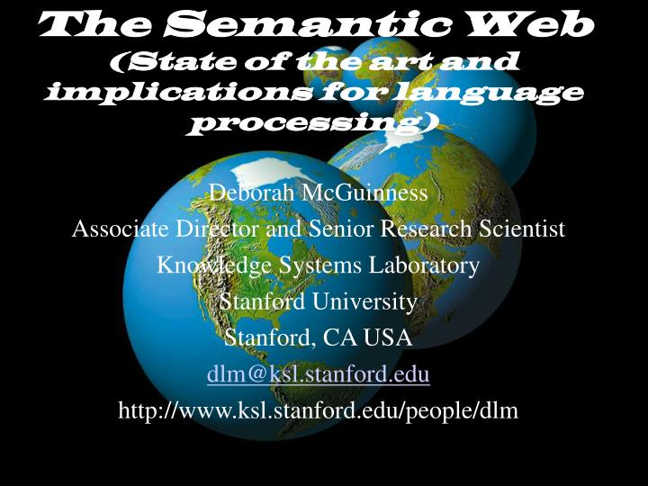 the semantic web state of the art and implications for language processing n.