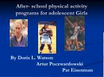after school physical activity programs for adolescent girls