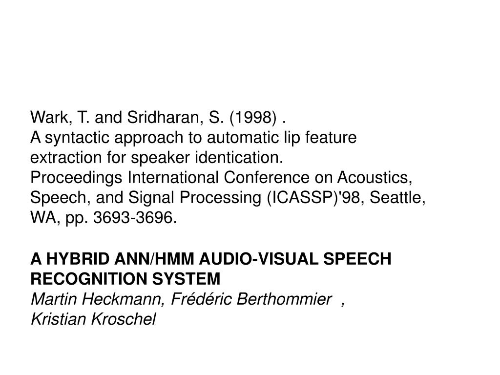 PPT - Audio-Visual Speech and Speaker Recognition PowerPoint