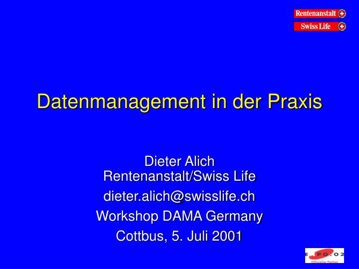 datenmanagement in der praxis n.