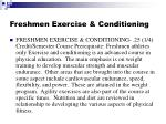 freshmen exercise conditioning
