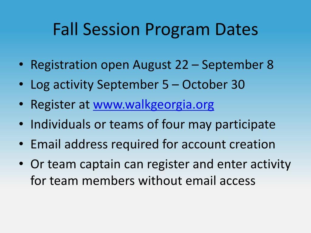 Fall Session Program Dates