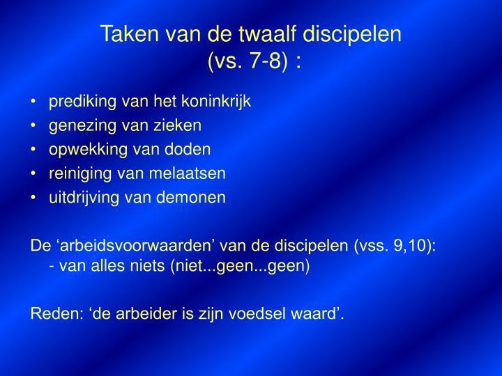 Taken van de twaalf discipelen