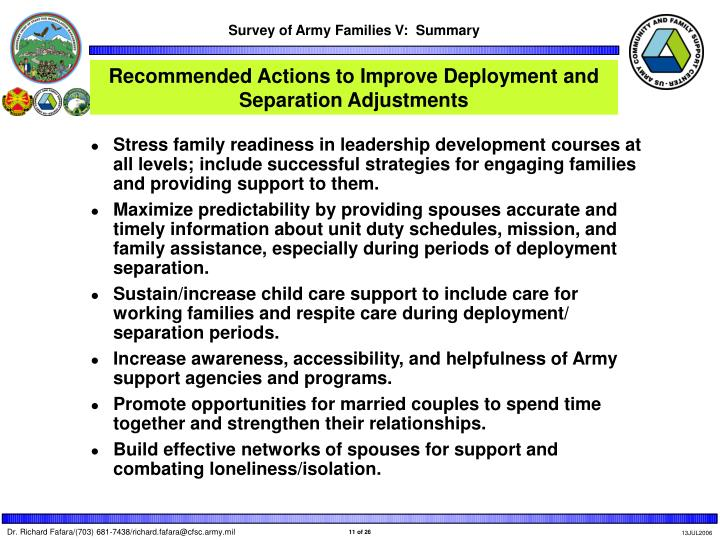 Recommended Actions to Improve Deployment and Separation Adjustments