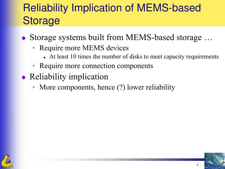 Reliability Implication of MEMS-based Storage