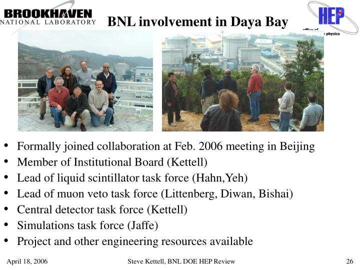 BNL involvement in Daya Bay