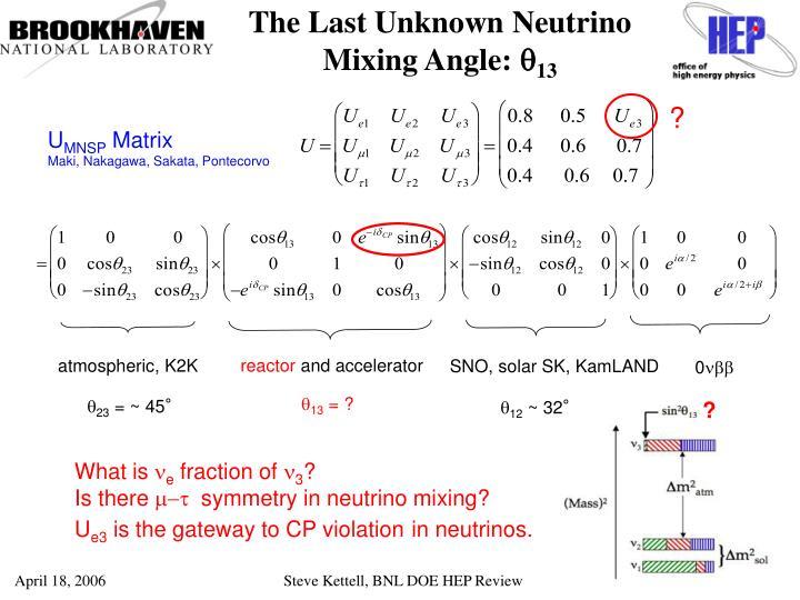 The Last Unknown Neutrino Mixing Angle: