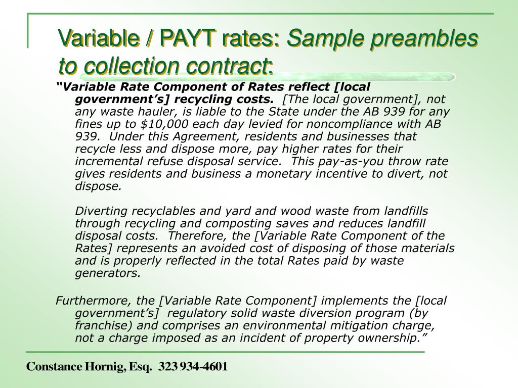 Variable / PAYT rates: