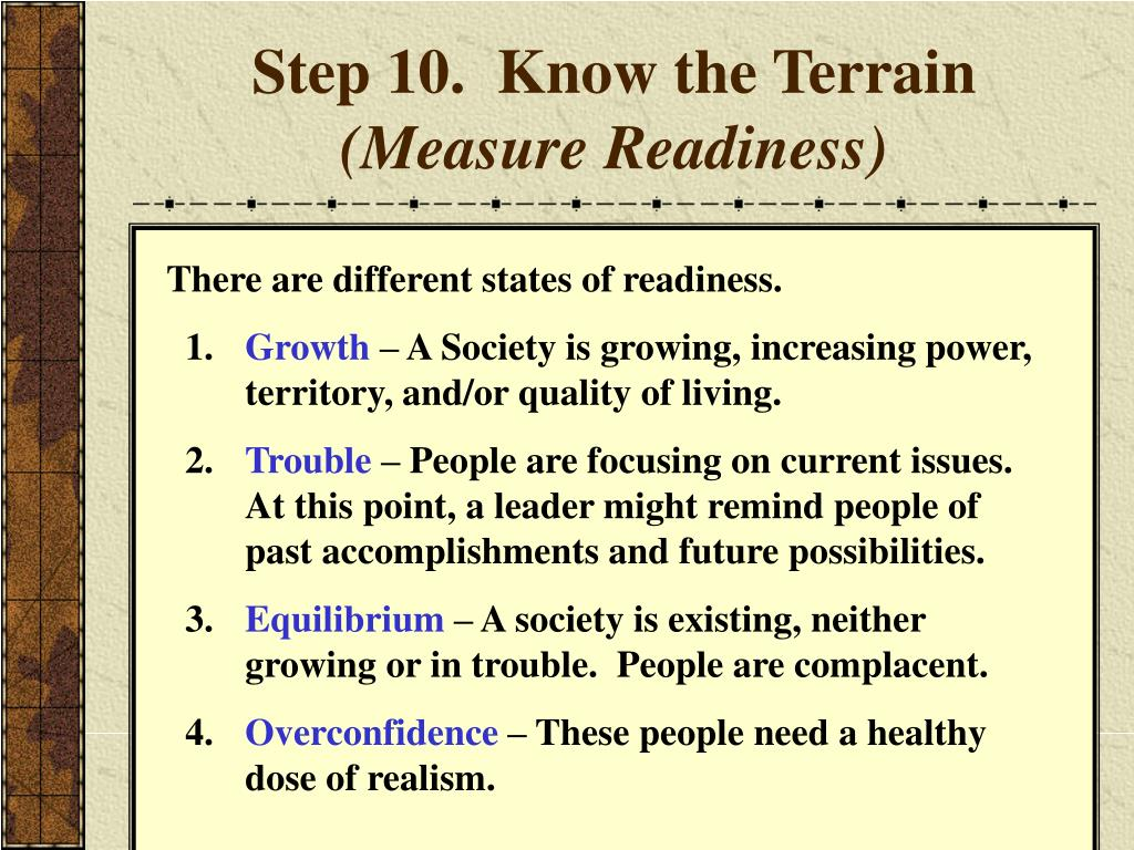 Step 10.  Know the Terrain