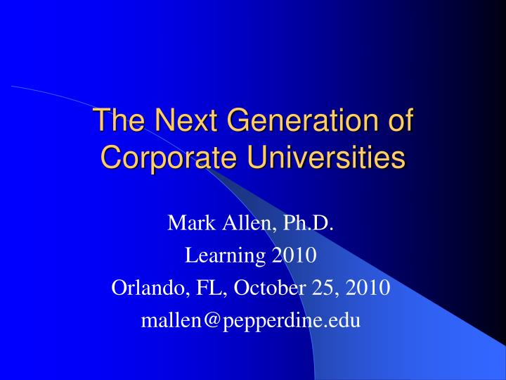the next generation of corporate universities n.