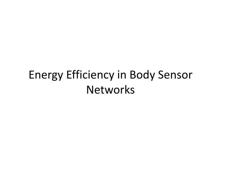 Energy Efficiency in