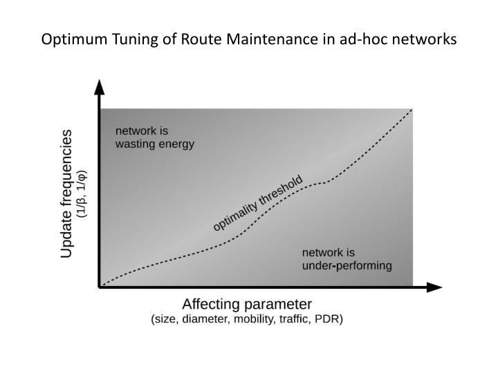 Optimum Tuning of Route Maintenance in ad-hoc networks