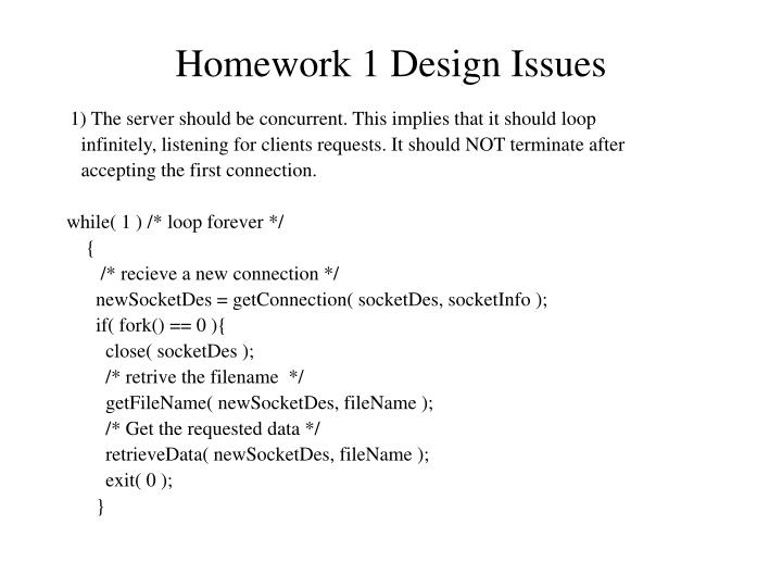 homework 1 design issues n.