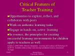 critical features of teacher training